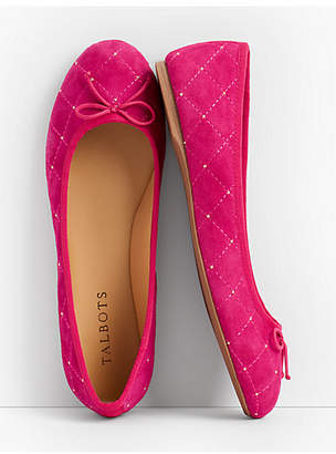Talbots Penelope Quilted Ballet Flats - Studded Kid Suede