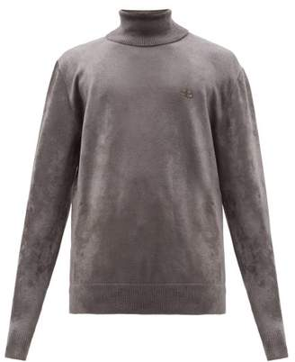 Balenciaga Logo Embroidered Roll Neck Chenille Sweater - Mens - Grey
