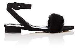 Barneys New York Women's Suede & Fur Ankle-Wrap Sandals - Black
