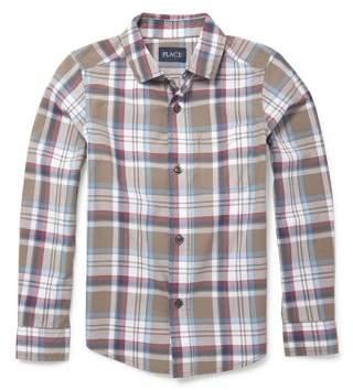 Children's Place The Childrens Place Long Sleeve Button Up Poplin Brown Plaid Shirt (Little Boys & Big Boys)