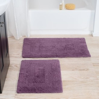 Cotton Bath Mat Set- 2 Piece 100 Percent Cotton Mats- Reversible, Soft, Absorbent and Machine WaSomerset Homeable Bathroom Rugs By Somerset Home (Eggplant)