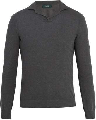 Zanone Long-sleeved cotton-piqué polo shirt