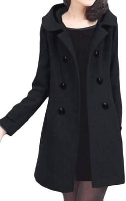 Fulok Womens Classic Hood Double-reasted Wool-Blend Pea Coats