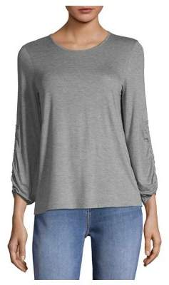 Lord & Taylor Petite Ruched Drawstring Long-Sleeve Top