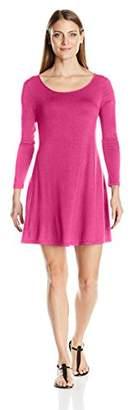 Clementine Women's Petite Plus Long-Sleeve Trapeze Dress