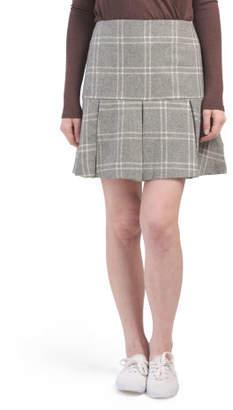 Wool Blend Box Pleat Skirt