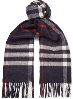 Burberry Fringed Checked Cashmere Scarf - Men - Navy