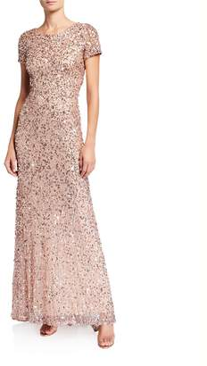 Adrianna Papell Sequin Scoop-Back Gown