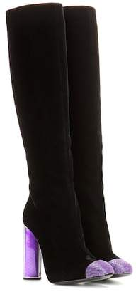 Tom Ford Embellished velvet knee-high boots