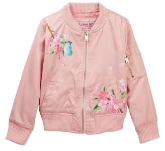 Urban Republic Floral Print Bomber Jacket (Little Girls)