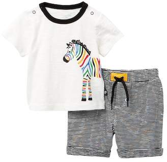 Offspring Zebra Shirt & Striped Short Set (Baby Boys)