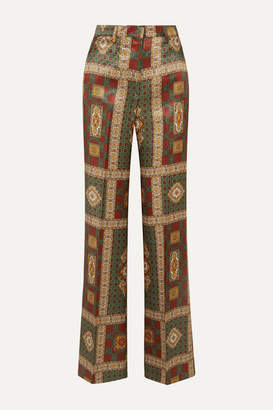Etro Printed Twill Wide-leg Pants - Dark green