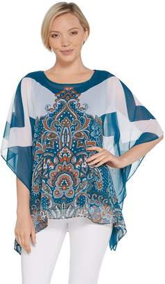 Susan Graver Printed Sheer Chiffon Scarf Top and Knit Tank Set