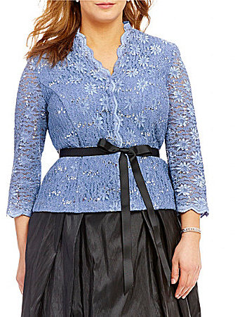 Alex Evenings Alex Evenings Plus Belted Lace Blouse