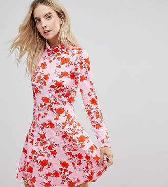 Asos Turtleneck Mini Dress With Godets In Floral Print