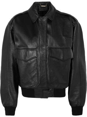 Givenchy Oversized Textured-leather Bomber Jacket - Black