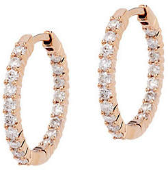 Affinity Diamond Jewelry Diamond Inside Out Hoop Earrings, 14K, 1.0cttwby Affinity