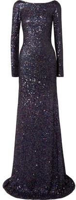 Naeem Khan Draped Open-back Embellished Silk-blend Chiffon Gown - Navy