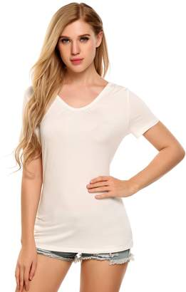 Meaneor Women's Short Sleeve T-Strap Back Top Shirt Shirred V-Neck Tee