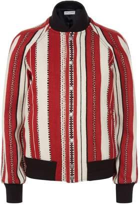 Saint Laurent Striped Knit Bomber Jacket
