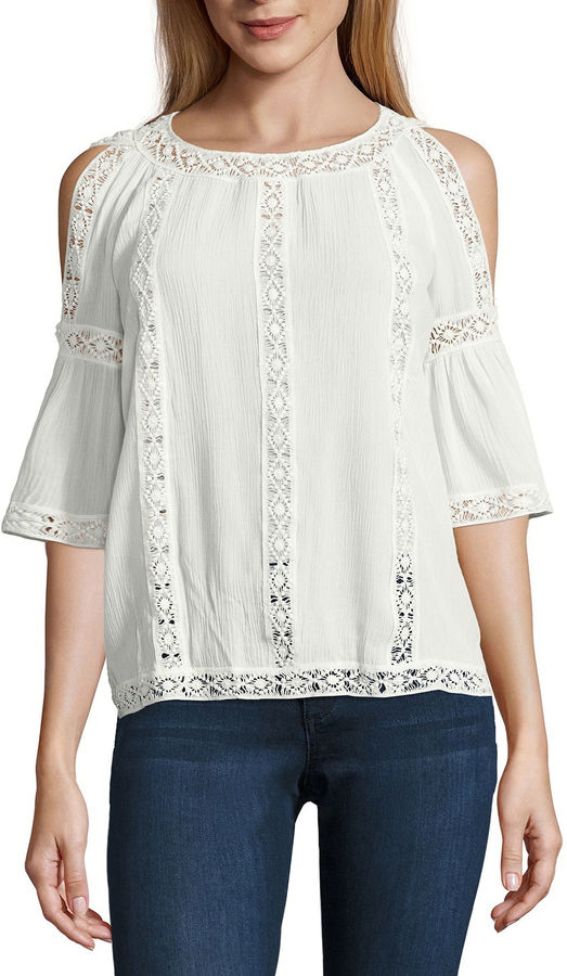 BUFFALO JEANS i jeans by Buffalo Lace Trim Cold Shoulder Top