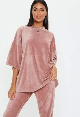 Missguided Petite Pink Velour Oversized T Shirt