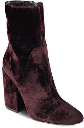 Kendall and Kylie Brooke Velvet Block Heel Booties $199 thestylecure.com