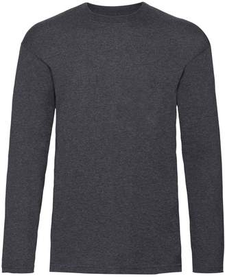 Fruit of the Loom Mens Valueweight Crew Neck Long Sleeve T-Shirt (XL) (Heather Grey)