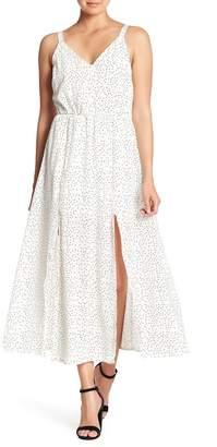 MELLODAY Polka Dot Front Split Maxi Dress