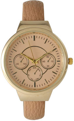 BEIGE OLIVIA PRATT Olivia Pratt Womens Decorative Chronograph Petite Leather Cuff Watch 26421Beige
