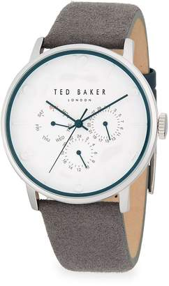 Ted Baker Men's Round Stainless Steel and Leather-Strap Watch