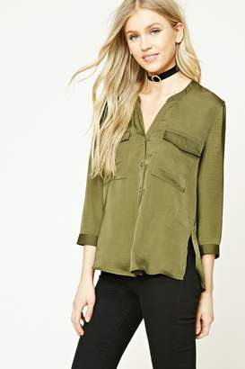 FOREVER 21+ Textured Satin Shirt $15.90 thestylecure.com