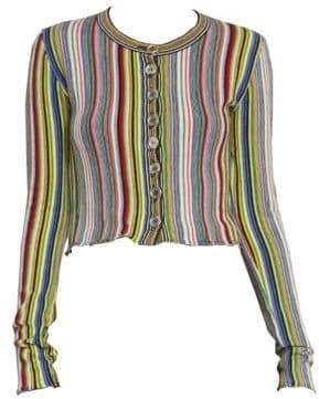 Marques Almeida Marques'Almeida Cropped Multicolor Stripe Wool Cardigan