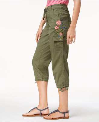 Style&Co. Style & Co Embroidered Cropped Cargo Pants, Created for Macy's