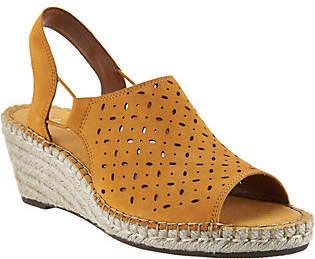 Clarks Artisan Leather Espadrille Wedge Sandals- Petrina Gail