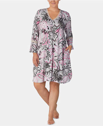 Ellen Tracy Plus Size Printed Bell-Sleeve Nightgown