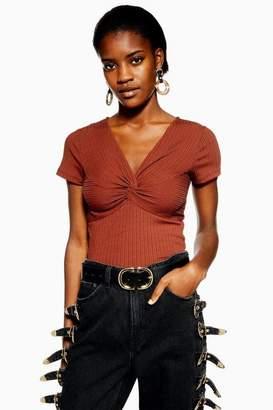 Topshop Womens Knot Front Ribbed T-Shirt
