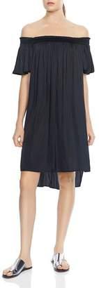 Halston Off-the-Shoulder High/Low Dress