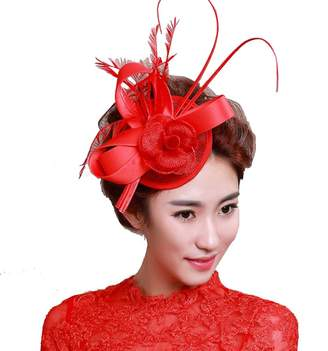 3a060b998f4 FloYoung Women Feather Satin Fascinator Hair Clip Cocktail Hat for Wedding