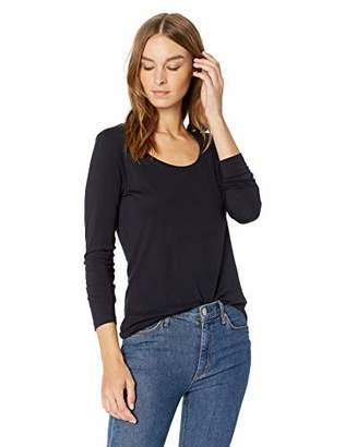 Lark & Ro Women's Long Sleeve Jersey Pima Cotton/Modal Scoop Neck T-Shirt