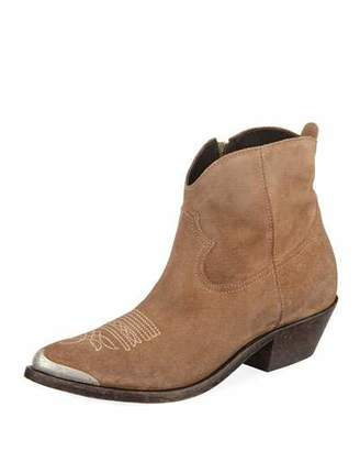 Golden Goose Young Suede Stitched Western Bootie