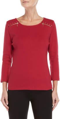Rafaella Studded Zip Shoulder Top