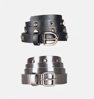 Avenue Metallic Faux Pearl Belt Set