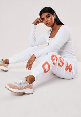 Missguided Plus Size White Neon Graphic Joggers