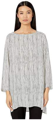 Eileen Fisher Linear Printed Silk Crepe Ballet Neck Tunic
