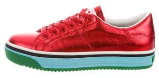 Marc Jacobs Leather Round-Toe Sneakers