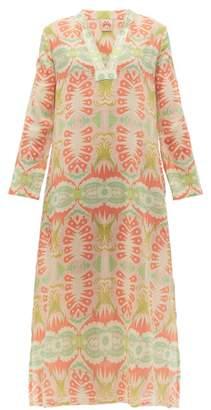Le Sirenuse Le Sirenuse, Positano - Giada Fish Tail Print Cotton Kaftan - Womens - Pink Multi