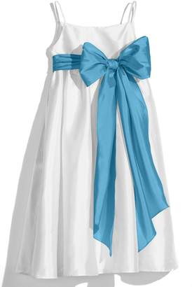 Us Angels White Sleeveless Empire Waist Taffeta Dress