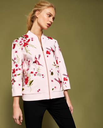 0487d7461 Ted Baker LEELAH Soft Blossom embroidered bomber jacket