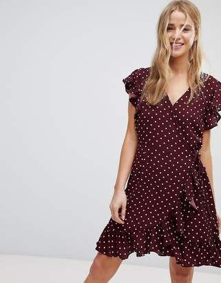 New Look Polka Dot Ruffle Wrap Dress